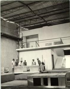 Construção do palco original do Vila - 1964